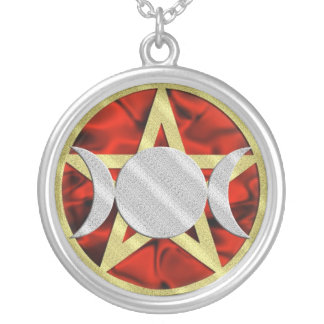 Gold Pentagram Silver Triple Goddess Round Pendant Necklace