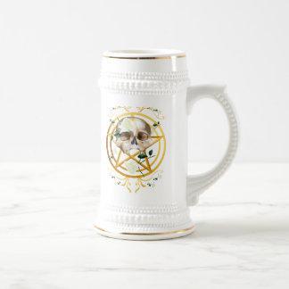 Gold Pentagram-Skull-White Roses2 Mugs