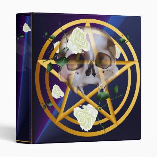 Gold Pentagram-Skull-White Roses binder_1_front.v4 Binder