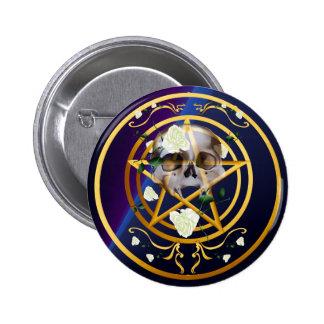 Gold Pentagram-Skull-White Roses Button