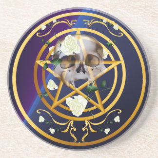 Gold Pentagram-Skull-White Roses  Coaster