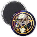Gold Pentagram-Skull-White Roses Magnets