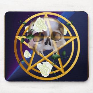 Gold Pentagram-Skull-White Roses Mousepad