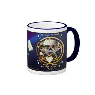 Gold Pentagram-Skull-White Roses Mugs