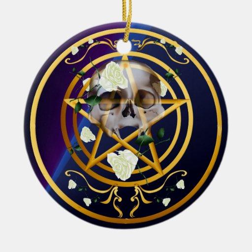 Gold Pentagram-Skull-White Roses Ornaments