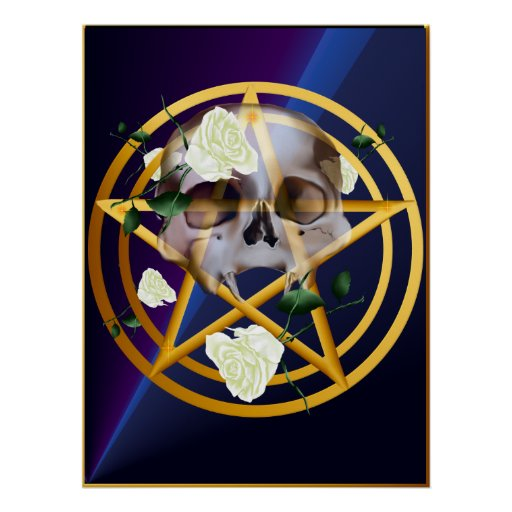 Gold Pentagram-Skull-White Roses Posters