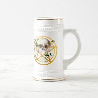 Gold Pentagram-Skull-White Roses Shirts Beer Stein