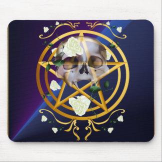 Gold Pentagram-Skull-White Roses Shirts Mouse Pad