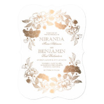 Gold Peonies | Floral Elegant and Vintage Wedding Card