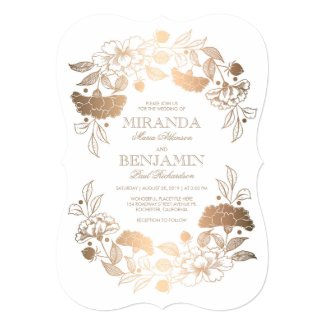 Gold Peonies | Floral Elegant and Vintage Wedding Invitation