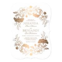 Gold Peonies | Floral Elegant and Vintage Wedding Invitation