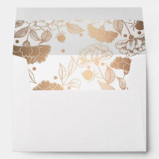 Gold Peonies Floral Pattern Wedding Envelope