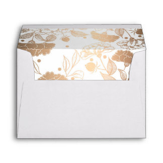Gold Peonies Floral Pattern Wedding Envelope