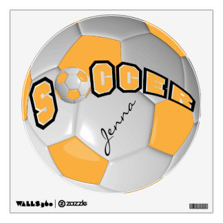 Gold Personalize Soccer Ball Room Decals