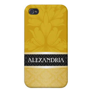 Gold Personalized Damask iPhone 4 Case