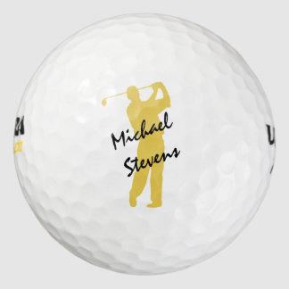 Gold Personalized Golfer Golf Balls