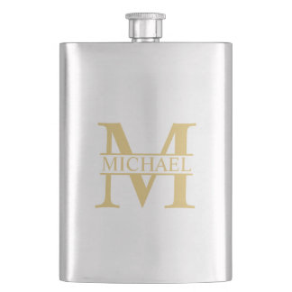Gold Personalized Monogram and Name Flask