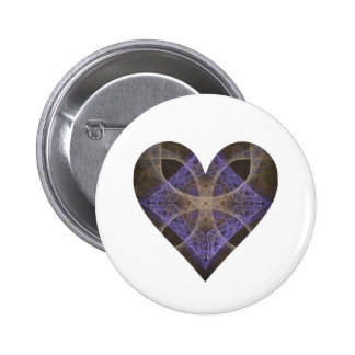 Gold Petal Overlay on Purple Intricate Diamond Pinback Button