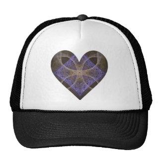 Gold Petal Overlay on Purple Intricate Diamond Mesh Hats