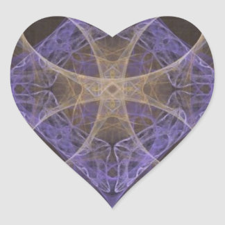 Gold Petal Overlay on Purple Intricate Diamond Heart Sticker