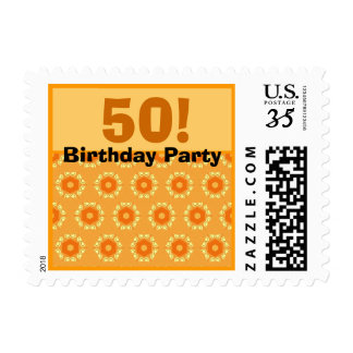 Gold Petite Flowers 50th Birthday Party V301 Postage