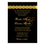 GOLD PEWTER BLACK  Rose Wedding Invitation