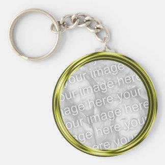 gold  photo frame basic round button keychain