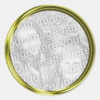 gold photo frame round stickers