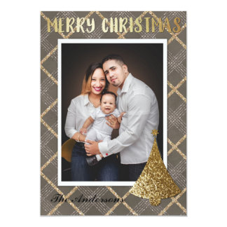 Gold Photo Merry Christmas Card