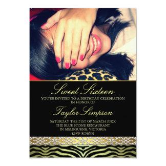 Gold Photo Zebra Print Sweet16 Birthday invite