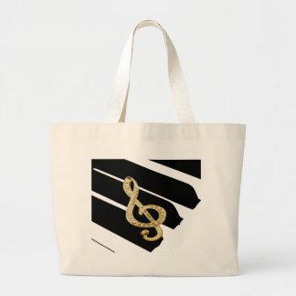 Gold Piano gclef Symbols Large Tote Bag