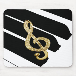 Gold Piano gclef Symbols Mouse Pad