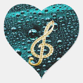 Gold Piano Gclef with rain drop Bakcground Heart Sticker