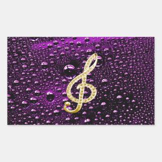 Gold Piano Gclef with rain drop Bakcground Rectangular Sticker