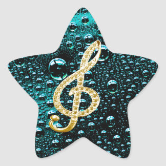 Gold Piano Gclef with rain drop Bakcground Star Sticker