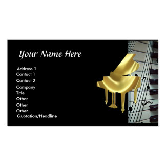Gold Piano Keyboard and Music Notes Business Card