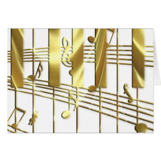 Gold Piano Keyboard Card