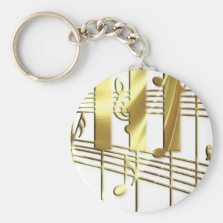 Gold Piano Keyboard Keychains