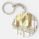 Gold Piano Keyboard Keychains