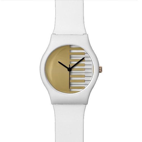 Gold Piano Keyboard Music Wrist Watch