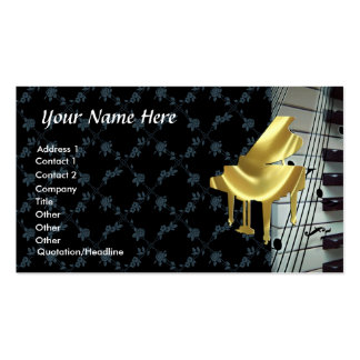 Gold Piano Keyboard Notes and Roses Business Card