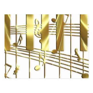 Gold Piano Keyboard Postcard