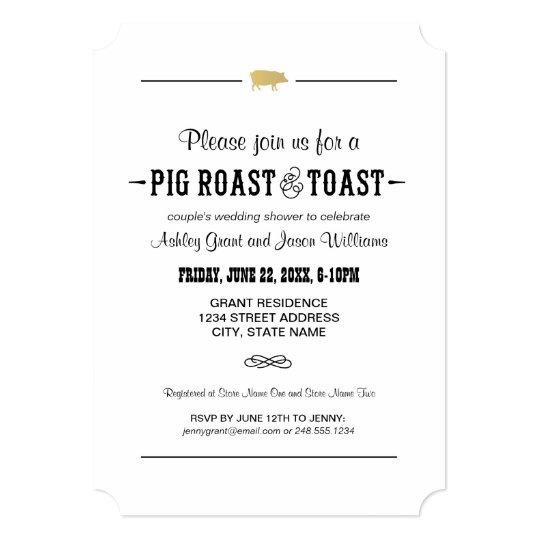 Gold Pig Roast Toast Couple S Wedding Shower Invitation Zazzle Com