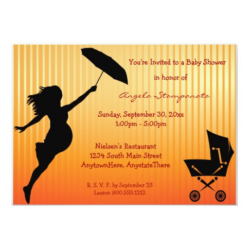 Gold Pin-Striped Baby Shower Invitation