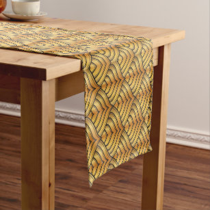 Gold Pine Comb And Black Ink Art Deco Pattern Short Table Runner
