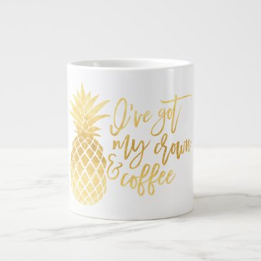 Coffee Themed Gold Pineapple Jumbo Mug