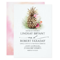 Gold Pineapple Pink Floral Beach Wedding Invitation