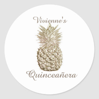 Gold Pineapple Quinceanera Classic Round Sticker
