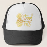 """Gold Pineapple Stand Tall Trucker Hat<br><div class=""""desc"""">Stand tall and wear your crown! Pineapple crown that is. A gold design on a great hat makes for the perfect summer accessory.</div>"""