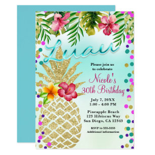 Gold Pineapple Tropical Leaves Luau Party Invitation